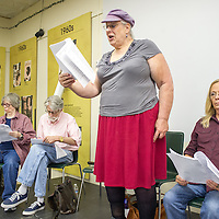 "Senior LGBT members of *eRa* , a writing group at the Q Center in Portland, rehearse ""Speaking Out at Last: Stories from the LGBTQ Community"", a narrative theater piece chronicling experiences of childhood, first love, homophobia, AIDS, and aging. From left, Signe, Vern, Jamie, and Ricky.  11:48am"