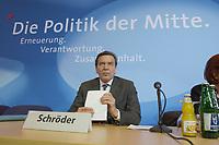 """13 MAY 2002, BERLIN/GERMANY:<br /> Gerhard Schroeder, SPD, Bundeskanzler, unter dem Schriftzug """"Die Politik der Mitte"""", vor Beginn der SPD Parteikonferenz, links: Heidemarie Wieczorek-Zeul, Bundesentwicklungshilfeministerin, Willi-Brandt-Haus<br /> IMAGE: 20020513-03-011<br /> KEYWORDS: Gerhard Schröder"""