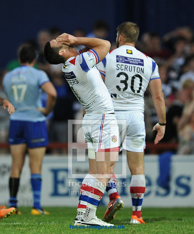 Richard Mathers of Wakefield Trinity Wildcats holds his head in his hands after the final hooter following a mistake wich lead to Stefan Marsh scoring during the First Utility Super League match at Belle Vue, Wakefield<br /> Picture by Richard Land/Focus Images Ltd +44 7713 507003<br /> 10/07/2014