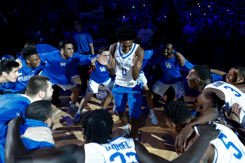 Kentucky Wildcats guard De'Aaron Fox dances during pregame introductions prior to the game against the Kansas Jayhawks on Saturday January 28, 2017 at Rupp Arena in Lexington, Ky. Photo by Michael Reaves | Staff