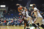 "Mississippi State Lady Bulldogs guard Jerica James (21) comes up with a rebound against Mississippi Lady Rebels forward Danielle McCray (22) at the C.M. ""Tad"" Smith Coliseum in Oxford, Miss. on Thursday, January 22, 2015. (AP Photo/Oxford Eagle, Bruce Newman)"