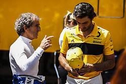 May 25, 2018 - Montecarlo, Monaco - Alain Prost talking with 55 Carlos Sainz from Spain Renault Sport F1 Team RS18 portrait  during the Monaco Formula One Grand Prix  at Monaco on 25th of May, 2018 in Montecarlo, Monaco. (Credit Image: © Xavier Bonilla/NurPhoto via ZUMA Press)