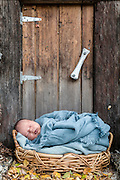 Sleeping newborn in a basket at the front door.
