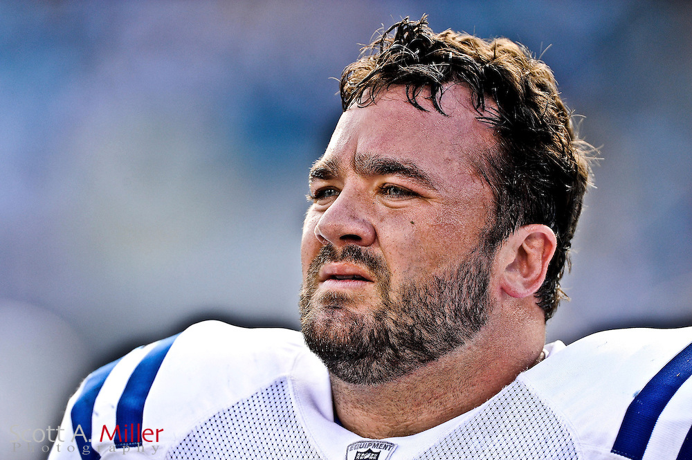 Indianapolis Colts center Jeff Saturday (63) during the Indianapolis Colts 31-28 loss to the Jacksonville Jaguars  at the EverBank Field on Oct. 3, 2010 in Jacksonville, Fl...(AP Photo/Scott A. Miller)