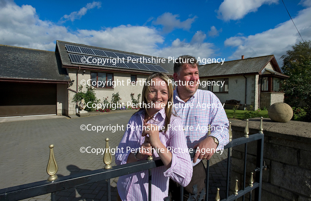 30.8.2011. RECORD SATURDAY HOMES FEATURE. 7 Balgowan Bungalows, Balgowan, Perthshire.<br /> David and Alyson Burns outside their Balgowan home.<br /> COPYRIGHT: Perthshire Picture Agency.<br /> Tel. 01738 623350 / 07775 852112.