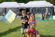 Lucerne, SWITZERLAND, 12th July 2018, Friday  FISA World Cup series, No.3, Lake Rotsee, Lucerne,  UKR W1X, Diana DYMCHENKO, with young supporters, Photographer Karon PHILLIPS