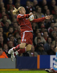 Liverpool, England - Wednesday, October 3, 2007: Liverpool's Andriy Voronin action against Olympique de Marseille during the UEFA Champions League Group A match at Anfield. (Photo by David Rawcliffe/Propaganda)