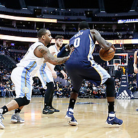01 February 2016: Denver Nuggets guard Jameer Nelson (1) defends on Memphis Grizzlies forward JaMychal Green (0) during the Memphis Grizzlies 119-99 victory over the Denver Nuggets, at the Pepsi Center, Denver, Colorado, USA.