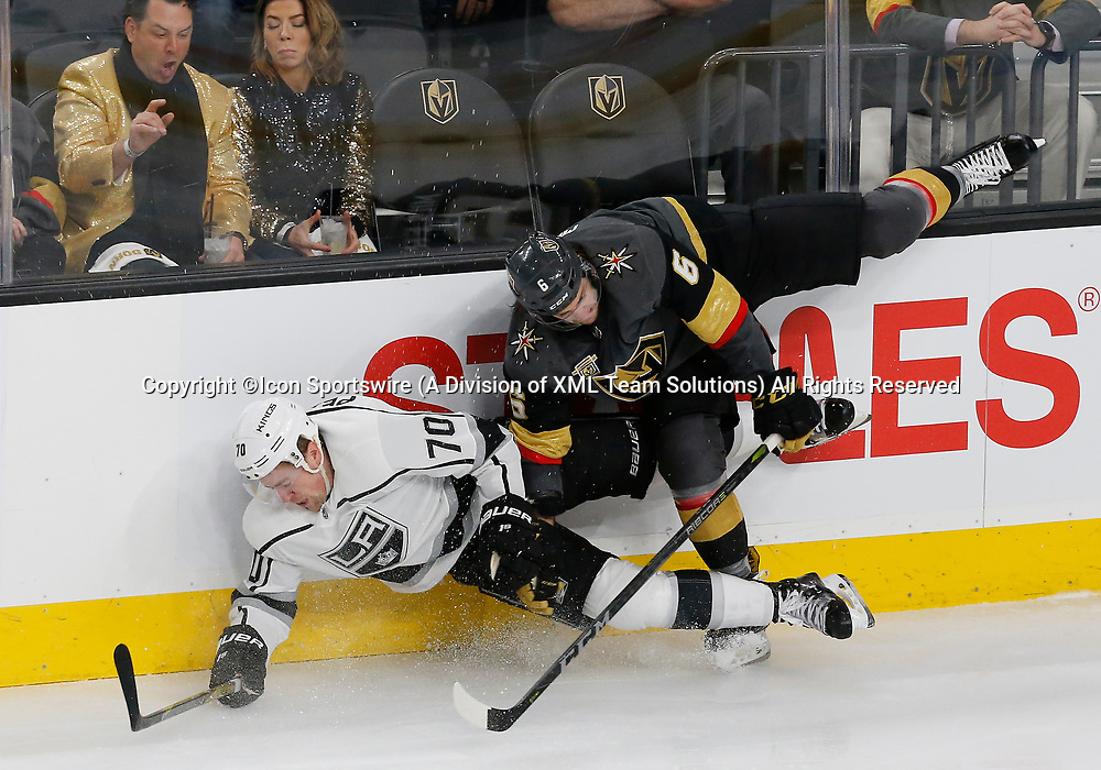 LAS VEGAS, NV - APRIL 11: Los Angeles Kings left wing Tanner Pearson (70) collides with Vegas Golden Knights defenseman Colin Miller (6) during Game One of the Western Conference First Round of the 2018 NHL Stanley Cup Playoffs between the L.A. Kings and the Vegas Golden Knights Wednesday, April 11, 2018, at T-Mobile Arena in Las Vegas, Nevada. The Golden Knights won 1-0.  (Photo by: Marc Sanchez/Icon Sportswire)