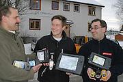 Petter Asle Mona (42), Lars Gravbrøt (31) og daglig leder Jan Ivar Sandnes (32), gründere GPS butikken, Norsk Navigasjon AS, Snåsa Norsk Navigasjon.