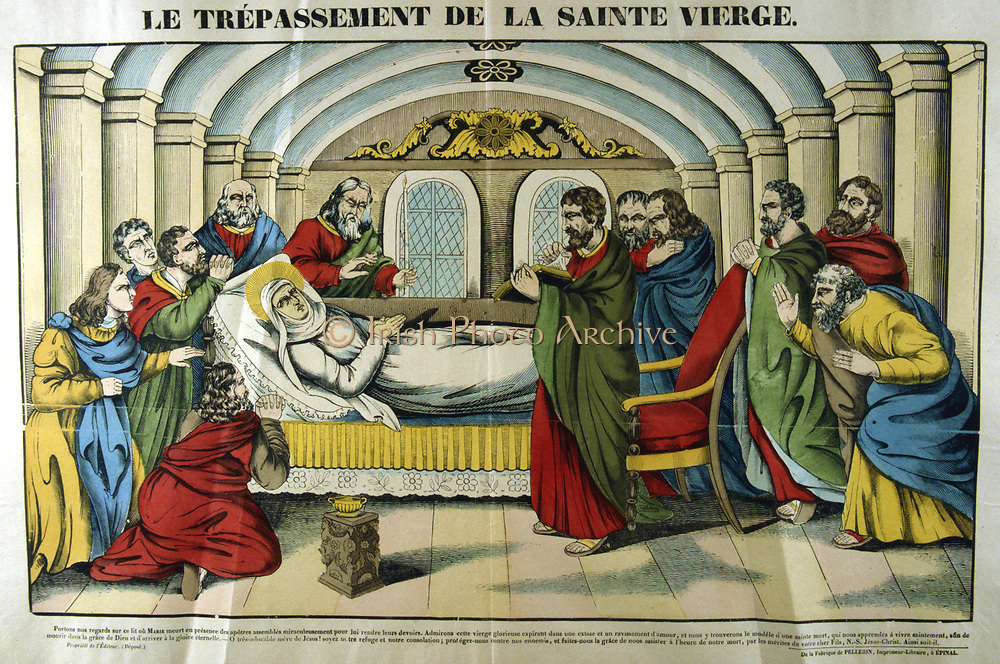 Death of the Virgin Mary. French 19th century coloured woodcut.
