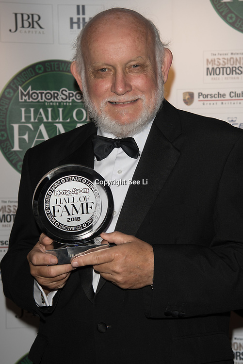 Doug Nye receives US racing award for Phil Hill at The Motor Sport Hall of Fame will return to the spectacular Royal Automobile Club at Woodcote Park, Surrey, London, UK. 4 June 2018.