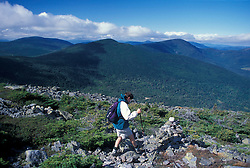 A hiker makes his way among the rocks on Mt. Abraham, near the Appalachian Trail.Kingfield, ME MR