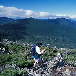 A hiker makes his way among the rocks on Mt. Abraham, near the Appalachian Trail.Kingfield, ME MR