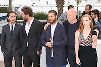 Shia Labeouf, Jason Clarke, Tom Hardy, John Hillcoat, Jessica Chastain, at the Lawless film photocall at the 65th Cannes Film Festival. The screenplay for the film Lawless was written by Nick Cave and Directed by John Hillcoat. Saturday 19th May 2012 in Cannes Film Festival, France.