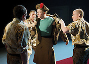 Black Watch <br /> National Theatre of Scotland<br /> written by Gregory Burke and directed by John Tiffany<br /> at The Barbican Theatre, London, Great Britain <br /> press photocall <br /> 26th November 2010 <br /> <br /> <br /> Jack Lowden (as Cammy)<br /> and ensemble<br /> <br /> <br /> Photograph by Elliott Franks