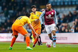 Jordan Ayew of Aston Villa is challenged by Sam Wood and Joe Jacobson of Wycombe Wanderers - Mandatory byline: Rogan Thomson/JMP - 19/01/2016 - FOOTBALL - Villa Park Stadium - Birmingham, England - Aston Villa v Wycombe Wanderers - FA Cup Third Round Replay.