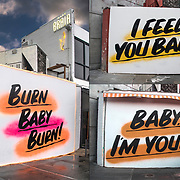 2017 &quot;I Feel You Baby &quot; 2018 &quot;Sign Burn Baby Burn!&quot; and now in 2019 &quot;Babu I'm Yours&quot; street art.<br /> <br /> Mural is next to Baby Brasa, a Peruvian restaurant for organic rotisserie chicken, sides, salads &amp; sandwiches on Seventh Avenue in Greenwich Village.<br /> <br /> Burn Baby Burn - GOR-149047-cR18<br /> Baby I'm Yours - GOR-167073-19<br /> I Feel You Baby - GOR-125878-17