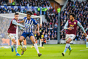 Frederic Guilbert (Aston Villa) & Bernardo Fernandes da Silva Junior (Brighton) during the Premier League match between Brighton and Hove Albion and Aston Villa at the American Express Community Stadium, Brighton and Hove, England on 18 January 2020.