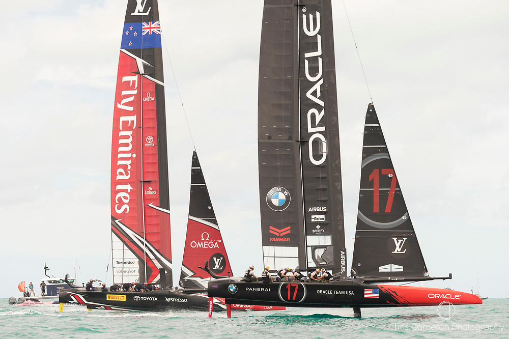 The Great Sound, Bermuda, 24th June 2017, Emirates Team New Zealand and Oracle team USA start race five. Oracle were over early and so incurred a penalty. Day three of racing in the America's Cup presented by louis Vuitton.
