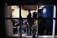 Britt Hume, Fox News does a stand up report in the White House Press briefing room.<br /> <br /> Photo by Dennis Brack