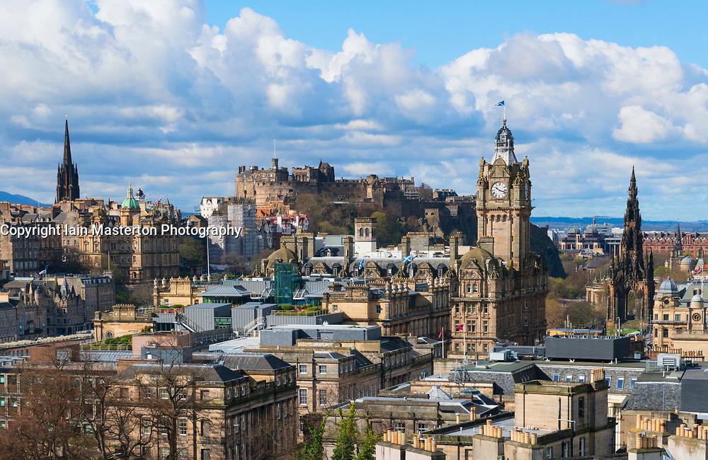 Skyline of city of Edinburgh from Calton Hill ,Scotland, United Kingdom