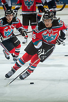 KELOWNA, CANADA - SEPTEMBER 20: Colton Heffley #25 of Kelowna Rockets skates with the puck during warm up against the Kamloops Blazers on September 20, 2014 at Prospera Place in Kelowna, British Columbia, Canada.   (Photo by Marissa Baecker/Shoot the Breeze)  *** Local Caption *** Colton Heffley;