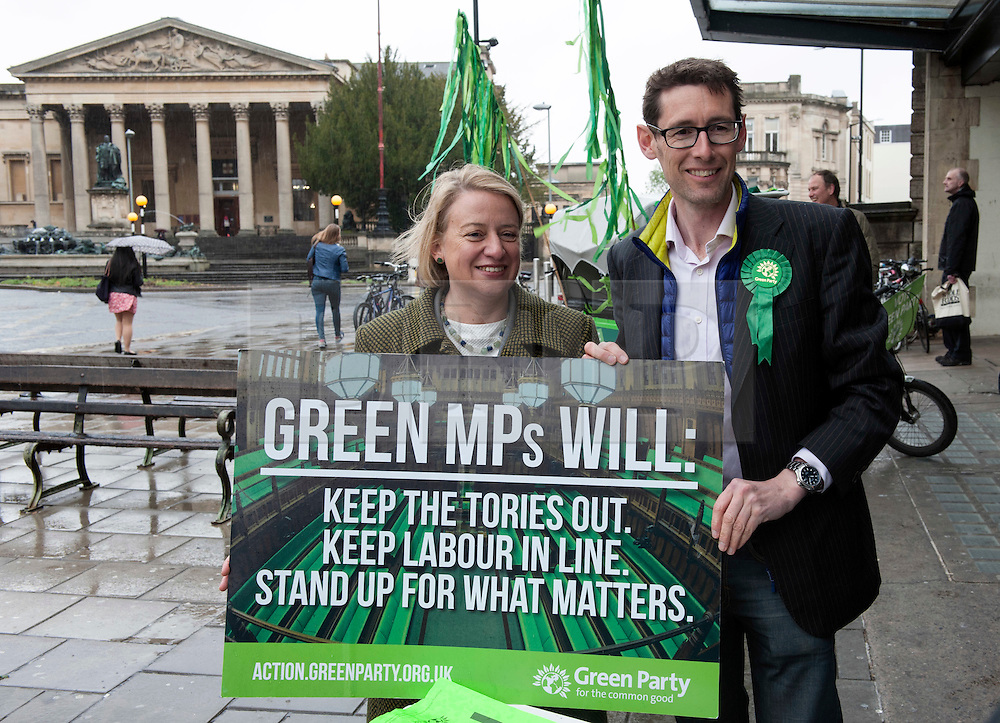 © Licensed to London News Pictures.  06/05/2015. Bristol, UK.  Picture of Natalie Bennett, leader of the Green Party, Green Party PPC for Bristol West Darren Hall campaigning in the Bristol West seat.  Author and Food Poverty Campaigner, Jack Monroe, came to Bristol West to support Green Party PPC Darren Hall in one of the Green Party's key target constituencies. Monroe met Hall alongside Green Party Leader, Natalie Bennett.  Photo credit : Simon Chapman/LNP