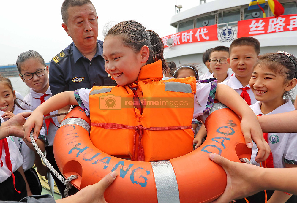 July 5, 2018 - Qinhuangdao, China - Pupils learn maritime knowledge in Qinhuangdao, north China's Hebei Province, marking the upcoming Maritime Day of China which falls on July 11th every year. (Credit Image: © SIPA Asia via ZUMA Wire)
