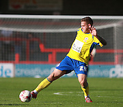Accrington Stanley striker Billy Kee stretches to control the ball during the Sky Bet League 2 match between Crawley Town and Accrington Stanley at the Checkatrade.com Stadium, Crawley, England on 26 September 2015. Photo by Bennett Dean.