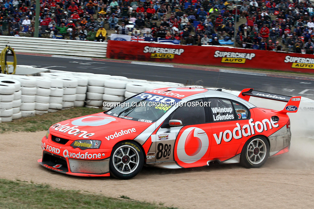 Jamie Whincup driving the TeamVodafone Falcon on the way to winning the Supercheap Auto Bathurst 1000 held at Mount Panorama, Bathurst Australia ~ Round 10 of the 2007 V8 Supercar Series on Sunday 7th October 2007.<br />