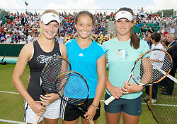 LIVERPOOL, ENGLAND - Tuesday, June 16, 2009: L-R Eugenie Bouchard (CAN), Laura Robson (GBR) and Ajla Tomljanovic (CRO) play an exhibition match in front of 3,000 school children at the Tradition ICAP Liverpool International Tennis Tournament 2009 at Calderstones Park. (Pic by David Rawcliffe/Propaganda)