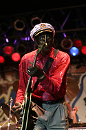 "Legendary rocker Chuck Berry, who was born in St. Louis, Missouri on Oct. 18, 1926 and best known for his classic hits ""Johnny B. Goode"", ""Maybellene"" and ""Memphis"" was recently ranked by Rolling Stone magazine as no. 5 on their list of the 50 greatest rock artists of all time (Spring 2004). He is seen here performing at the 7th Annual Doheny Blues Festival in Dana Point, California on September 18, 2004."