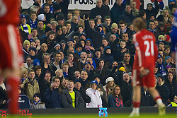 LIVERPOOL, ENGLAND - Wednesday, February 4, 2009: Liverpool's Lucas Leiva is abused by Everton's supporters, after he is sent off by referee Alan Wiley against Everton during the FA Cup 4th Round Replay match at Goodison Park. (Mandatory credit: David Rawcliffe/Propaganda)