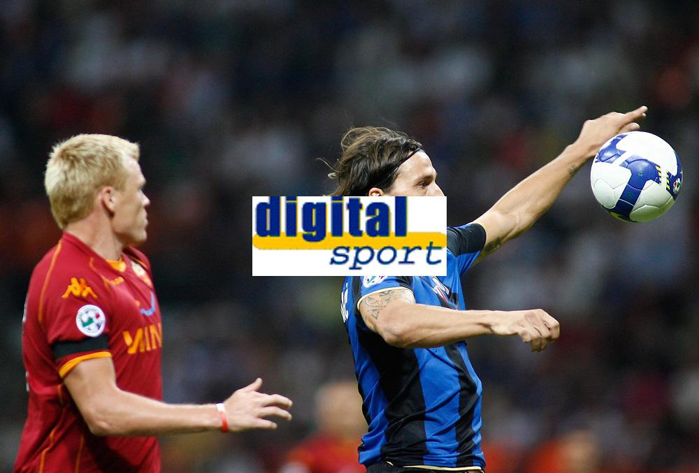 24-08-2008 Milano Italy sport calcio Inter-Roma Supercoppa Italiana 2008 nella foto : riise ibrahimovic   ph. Davide Elias / Agenzia Insidefoto