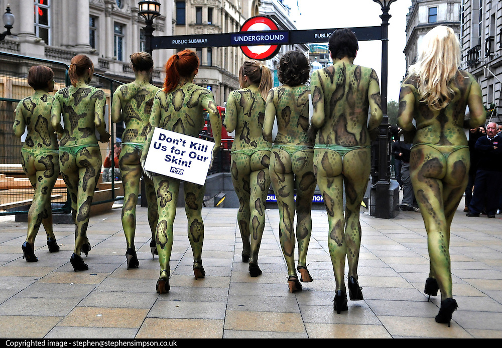 "07/10/2009 With their naked bodies painted to look like snakes and lizards, members of People for the Ethical Treatment of Animals (PETA) urge shoppers to scratch exotic-animal skins off their personal and holiday shopping lists. Their signs read, ""Don't Kill Us for Our Skins""."