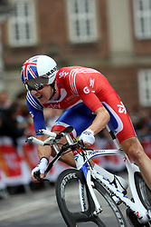 Bradley Wiggins of Great Britain in action on his way to the silver medal in the Elite Men's Time Trial on day three of the UCI Road World Championships on September 21, 2011 in Copenhagen, Denmark.  (Photo by Marjan Kelner / Sportida Photo Agency)