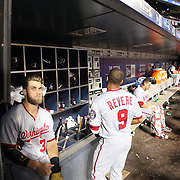 NEW YORK, NEW YORK - July 08: Bryce Harper #34 of the Washington Nationals and Ben Revere #9 of the Washington Nationals in the dugout preparing to bat  during the Washington Nationals Vs New York Mets regular season MLB game at Citi Field on July 08, 2016 in New York City. (Photo by Tim Clayton/Corbis via Getty Images)