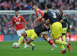 Bristol City's Aaron Wilbraham challenges for the ball with Walsall's Adam Chambers - Photo mandatory by-line: Dougie Allward/JMP - Mobile: 07966 386802 - 22/03/2015 - SPORT - Football - London - Wembley Stadium - Bristol City v Walsall - Johnstone Paint Trophy Final
