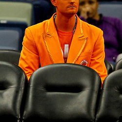 Feb 6, 2013; New Orleans, LA, USA; A Phoenix Suns fun sits courtside during the second quarter of a game against the New Orleans Hornets at the New Orleans Arena. Mandatory Credit: Derick E. Hingle-USA TODAY Sports
