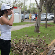 OCTOBER 5, 2017- RIO PIEDRAS, PUERTO RICO - <br /> University of Puerto Rico student Andrea Reflojos, 22 biology,  drinks water  as she volunteers to clean the campus following the destruction left by Hurricane Maria.<br /> (Photo by Angel Valentin)