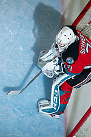 KELOWNA, BC - OCTOBER 16: Cole Schwebius #31 of the Kelowna Rockets stands in net at the start of overtime against the Swift Current Broncos  at Prospera Place on October 16, 2019 in Kelowna, Canada. (Photo by Marissa Baecker/Shoot the Breeze)