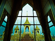 13 DECEMBER 2017 - BANGKOK, THAILAND:  The west side of the Royal Crematorium on Sanam Luang in Bangkok as seen from the Royal Family's seating area in the royal pavilion. The crematorium was used for the funeral of Bhumibol Adulyadej, the Late King of Thailand. He was cremated on 26 October 2017. The crematorium is open to visitors until 31 December 2017. It will be torn down early in 2018. More than 3 million people have visited the crematorium since it opened to the public after the cremation of the King.    PHOTO BY JACK KURTZ
