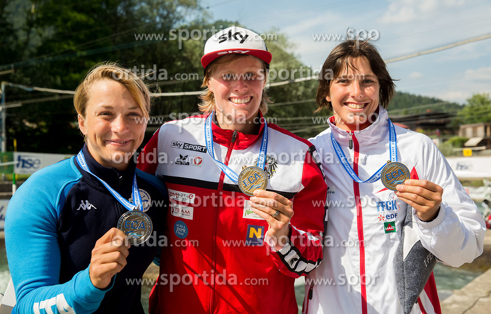 Second placed Stefanie Horn of Italy, Winner Corinna Kuhnle of Austria and third placed Mallory Franklin of France celebrate at medal ceremony after competing in Final of Kayak K1 Women during Day 4 of 2017 ECA Canoe Slalom European Championships, on June 4, 2017 in Tacen, Ljubljana, Slovenia. Photo by Vid Ponikvar / Sportida
