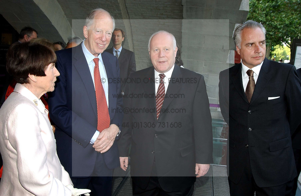 Left to right, LORD & LADY ROTHSCHILD, PROF.DR GEORG MILBRADT Minister President of the Free State of Saxony and ? at the opening of 'Princely Splendour; The Dresden Court 1580-1620' a new temporary exhibition at The Gilbert Collection, Somerset House, London sposored by Hubert Bruda Media, The Schroder Family and WestLB AG on 8th June 2005.<br /><br />NON EXCLUSIVE - WORLD RIGHTS