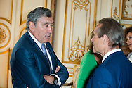 """Eddy Merckx and Jacky Ickxs attends at the ceremony who Michel Drucker was awarded at  the title of Commander of the Order of the Crowne at the Palace Egmont"""" at Brussels, 2014 in Brussels, Belgium."""