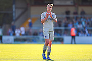 Portsmouth forward Oliver Hawkins (9) thanks the travelling fans during the EFL Sky Bet League 1 match between Wycombe Wanderers and Portsmouth at Adams Park, High Wycombe, England on 21 September 2019.