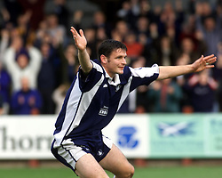 Falkirk's Hutchison celebrates after scoring their first goal, Falkirk v Clyde, 2000..