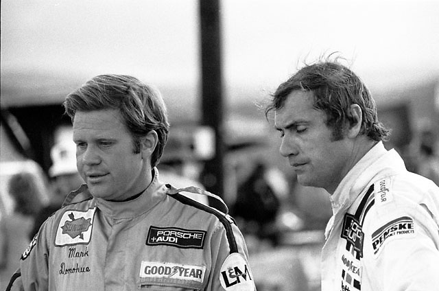 Mark Donohue and George Follmer during the 1972 Can-Am. Follmer, brought in by Penske to stand-in for the injured Donohue early in the season, would end the year as series champion.