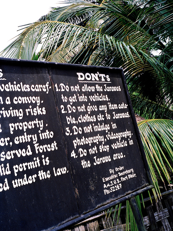 "Warning sign of ""Dont's"" to observe while driving in the Jawara reserve"